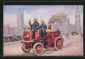 AK London, Feuerwehrwagen mit Dampfmaschine und Feuerwehrmänner auf Brücke vor Big Ben, Motor Fire Engine