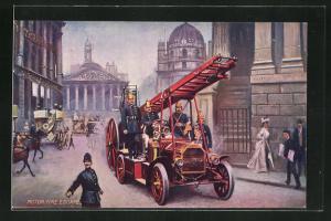AK London, Feuerwehr mit Leiterwagen in Strasse mit Bevölkerung, Motor Fire Escape