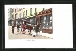 AK London, Einspänner mit Zeitungsverkäufer, Newspaper Boys