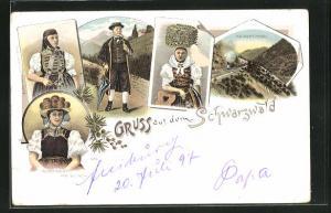 Lithographie Schwarzwald, Kaisertunnel, Volkstracht von Gutach, Frau in Schwarzwälder Tracht