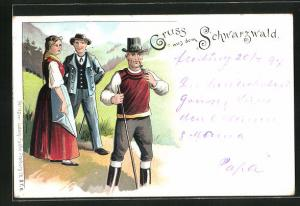 Lithographie Schwarzwald, Zwei Männer und eine Frau in Schwarzwälder Trachten