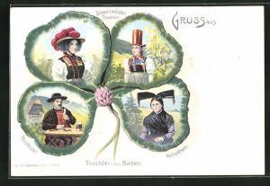 Lithographie Baden, Kleeblatt mit Schwarzwälder Trachten, Renchthäler, Markgräflerin, Frau in Tracht
