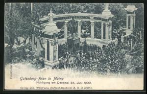 AK Mainz, Gutenberg-Feier 1900, Huldigung am Denkmal