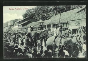 AK Kandy Perahara, Ceylon, Parade mit Elefanten