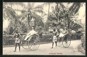 AK Colombo, Rikshaws, Europäer in Rikschas auf Sri Lanka