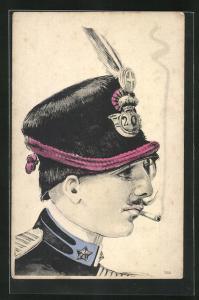 Künstler-AK ital. Husar mit Mütze mit Abzeichen
