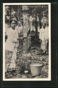 AK Singapore, Rubber Tapping, Frauen bei der Herstellung von Kautschuk