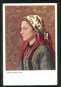 Künstler-AK Portrait einer jungen polnischen Frau mit Kopftuch