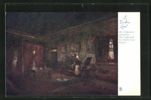 Künstler-AK In Dickens Land, Mr. Pickwick`s Adventure, The Lady with the Yellow Curl Papers