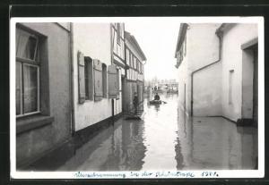 Foto-AK Königswinter, Überschwemmung in der Rheinstrasse 1948