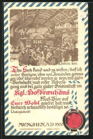 AK München, Gesellschaft im Münchner Hofbräuhaus 0