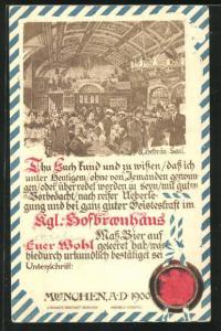 AK München, Gesellschaft im Münchner Hofbräuhaus