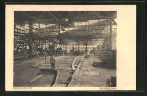 AK Duisburg-Rheinhausen, Friedrich-Alfred-Hütte, Fabrikarbeiter im Schienenwalzwerk