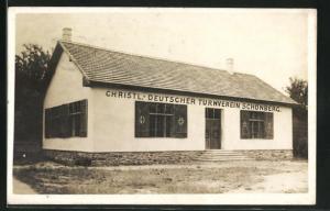Foto-AK Schönberg, Gebäude des Christl.-Deutschen Turnvereins Schönberg