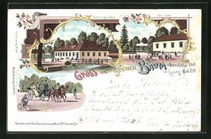 Lithographie Liesing, Gasthaus zum grünen Baum im Breitenfurther Thal