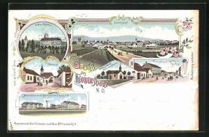 Lithographie Leobersdorf, Hauptstrasse mit Carl Vitals Handlung, Pfarrkirche, Schloss Enzesfeld