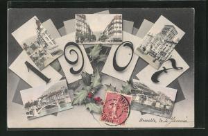 AK Jahreszahl 1907, verschiedene Ortsansichten von Grenoble