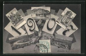 AK Jahreszahl 1907, Grenoble, verschiedene Ortsansichten