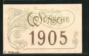 Präge-AK Jahreszahl 1905, Blumenornament und Glückwunsch