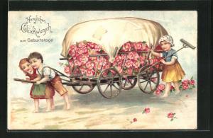 Präge-AK Kinder ziehen einen Blumenwagen, Geburtstagsglückwunsch