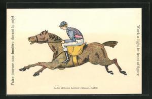 AK Halt gegen das Licht, Paris, Jockey auf seinem Pferd