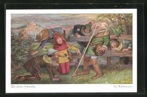 Künstler-AK Georg Mühlberg: die lieben Schwaben, Rast am Gartenzaun