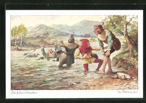 Künstler-AK Georg Mühlberg: die lieben Schwaben baden im Fluss