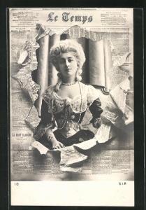 Foto-AK Atelier Reutlinger, Paris: Zeitung Le Temps, hübsches Fräulein im Portrait