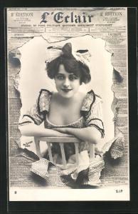 Foto-AK Atelier Reutlinger, Paris: Zeitung L'Erlair, hübsches Damenportrait