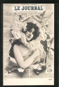 Foto-AK Atelier Reutlinger, Paris: Zeitung Le Journal, wunderschönes Fräulein im Portrait