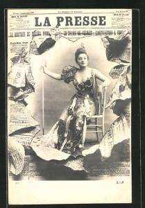 Foto-AK Atelier Reutlinger, Paris: Zeitung La Presse, schöne junge Frau im Portrait