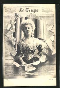 Foto-AK Atelier Reutlinger, Paris: Zeitung Le Temps, wunderschöne Frau im barocken Kostüm