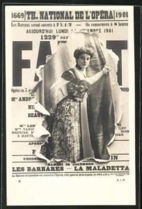 AK Zeitung Th. National de l'Odeon, wunderschönes Frauenportrait