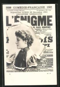 AK Zeitung l'Enigme, wunderschönes Frauenportrait