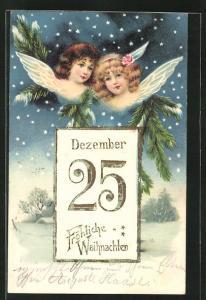 Präge-AK zwei niedliche Weihnachtsengel im Sternenhimmel, Kalenderblatt 25. Dezember