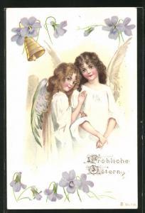 AK zwei hübsche Osterengel stehen unter einer Blumenglocke