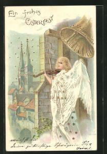 Präge-AK Osterengel mit Geige blick vom Kirchturm auf den Ort