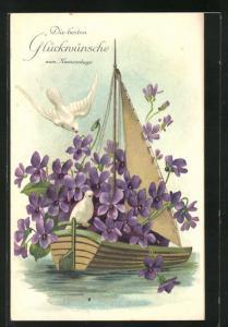 Präge-AK Namenstag mit weissen Tauben und Blumensegelboot