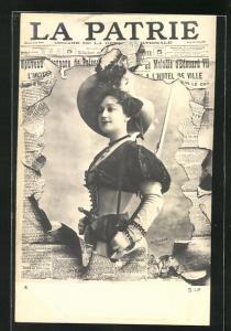 Foto-AK Atelier Reutlinger, Paris: Zeitung La Patrie, wunderschönes Damenportrait