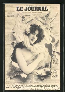 Foto-AK Atelier Reutlinger, Paris: Zeitung Le Journal, Frauenportrait mit Kopftuch