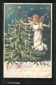 AK Weihnachtsengel entzündet die Kerzen am Christbaum