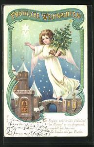AK Weihnachtsengel mit Christbäumchen wünscht Fröhliche Weihnachten