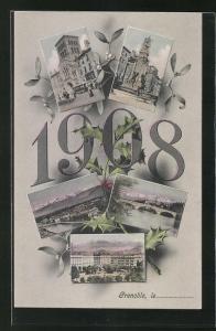 AK Grenoble, Teilansichten der Stadt, Jahreszahl 1908