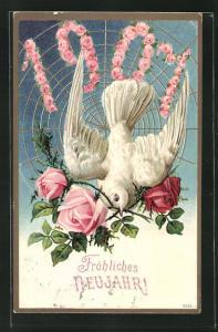 Präge-AK Weisse Taube und Jahreszahl 1907 aus Rosen