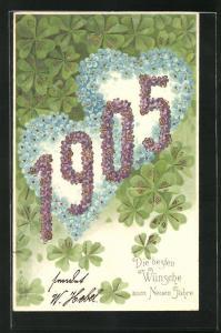 Präge-AK Jahreszahl 1905 aus Veilchen mit Herzen aus Vergissmeinnicht