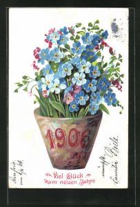 Präge-AK Blumentopf mit Jahreszahl 1906