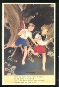Künstler-AK Willy Schermele: Hänsel und Gretel allein im Wald