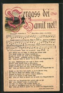 Lied-AK Anton Günther Nr. 47: Vergass dei Hamit net!, Erzgebirgslied mit Noten