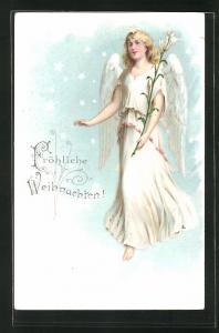AK Weihnachtsengel mit Blume, Weihnachtsgruss
