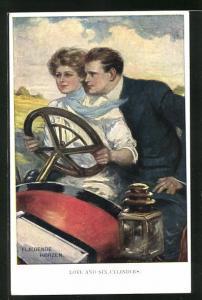 Künstler-AK Clarence F. Underwood: Fliegende Herzen, Paar in einem Auto